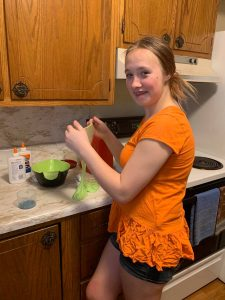 Savannah and Sarah - making slime